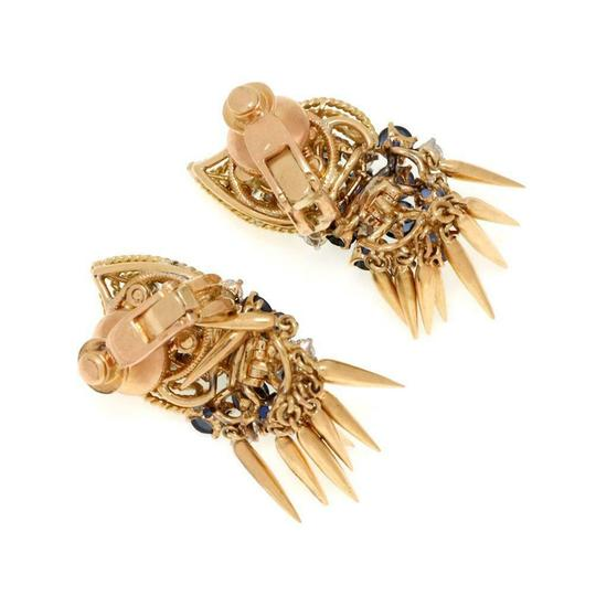 Other French Vintage 5ct Diamond Sapphire 18k Gold Dangle Clip On Earrings Image 4