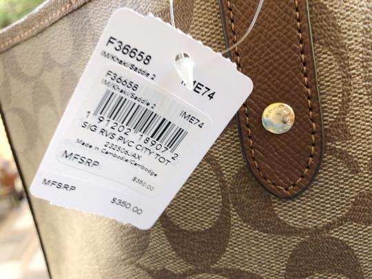 Coach Womens Reversible Signature Tote in Khaki Saddle Brown Image 1