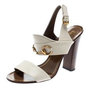 Gucci Leather Ankle Strap White Sandals