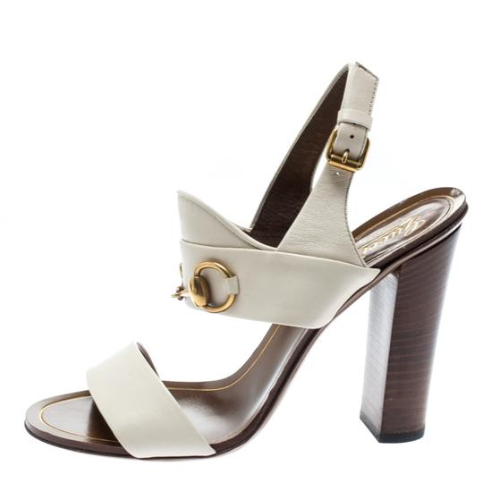 Gucci Leather Ankle Strap White Sandals Image 1