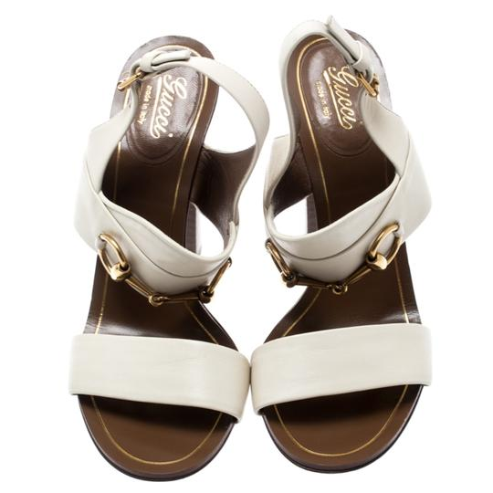 Gucci Leather Ankle Strap White Sandals Image 2