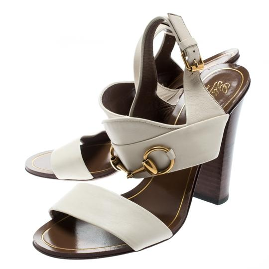 Gucci Leather Ankle Strap White Sandals Image 3