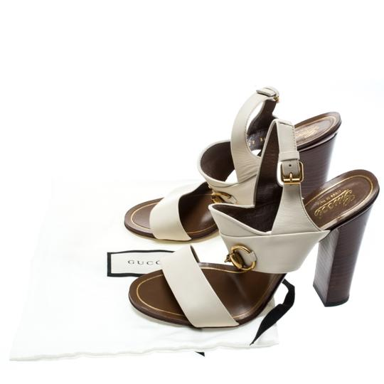 Gucci Leather Ankle Strap White Sandals Image 7