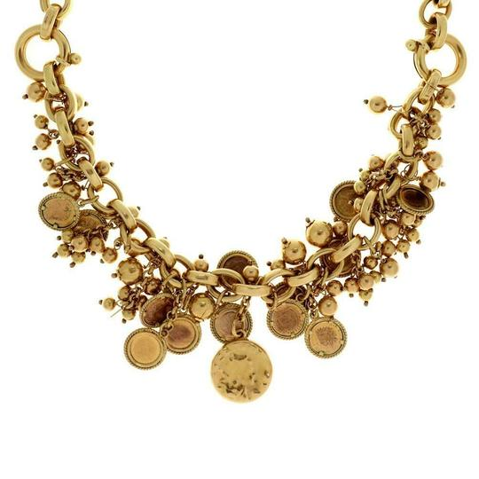 Other Italian Giodoro 18k Gold Dangling Cluster Mini Coins Charms Necklace Image 2