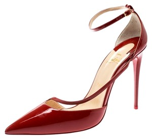 Christian Louboutin Patent Leather Ankle Strap Pointed Toe Red Pumps
