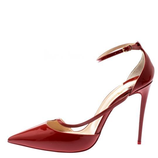 Christian Louboutin Patent Leather Ankle Strap Pointed Toe Red Pumps Image 1
