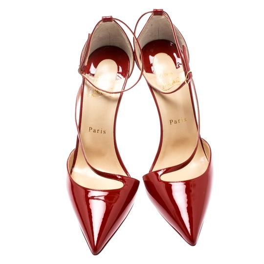 Christian Louboutin Patent Leather Ankle Strap Pointed Toe Red Pumps Image 2
