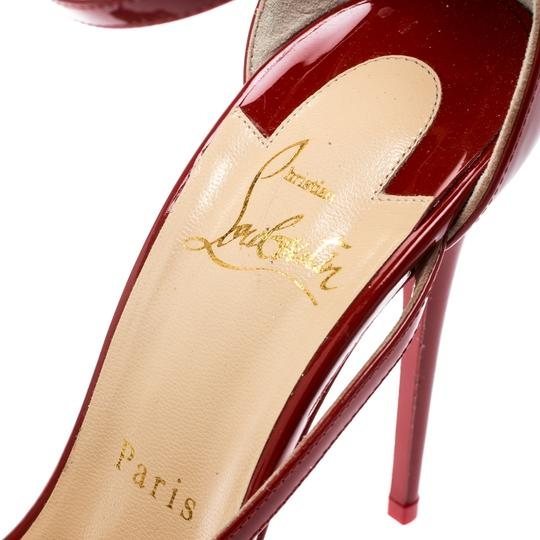 Christian Louboutin Patent Leather Ankle Strap Pointed Toe Red Pumps Image 6
