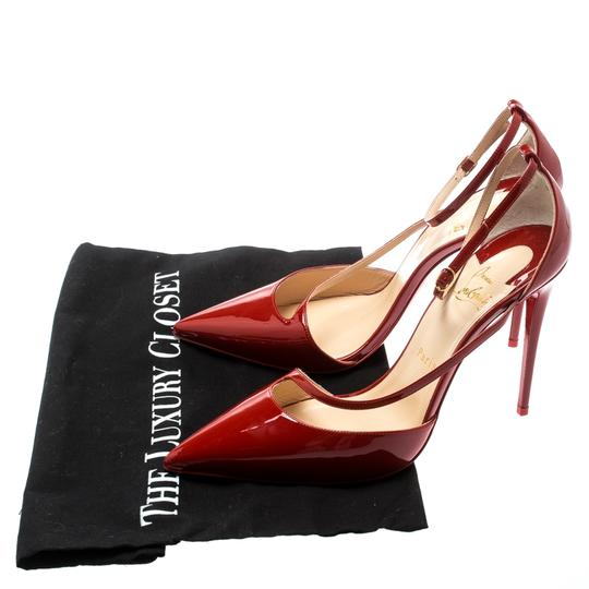 Christian Louboutin Patent Leather Ankle Strap Pointed Toe Red Pumps Image 7