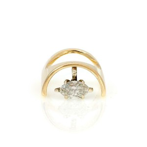 Other Vintage Marquee Diamond Solitaire 14k Yellow Gold Unique Ring
