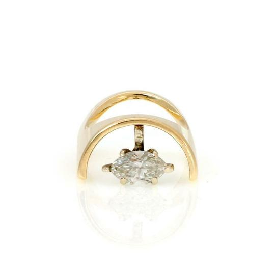 Preload https://img-static.tradesy.com/item/26389472/61375-vintage-marquee-diamond-solitaire-14k-yellow-gold-unique-ring-0-0-540-540.jpg