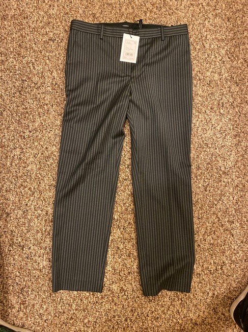 Theory Straight Pants Grey and Black Stripes Image 1