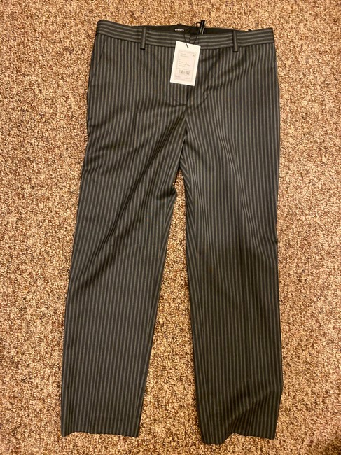 Theory Straight Pants Grey and Black Stripes Image 2