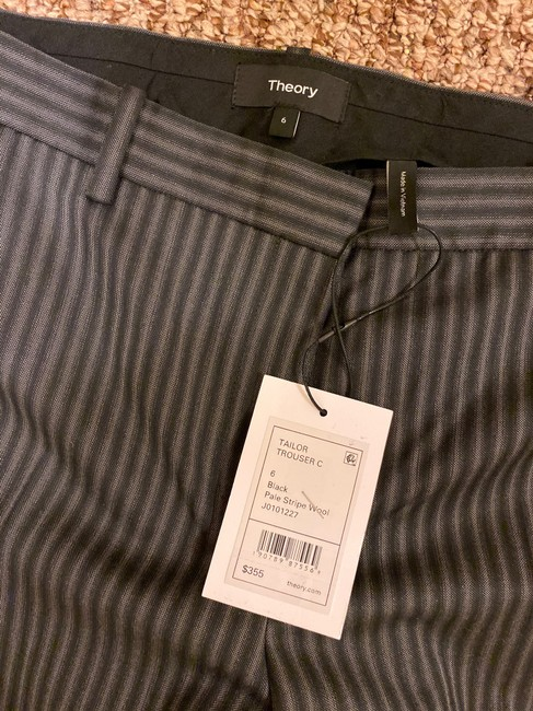 Theory Straight Pants Grey and Black Stripes Image 4