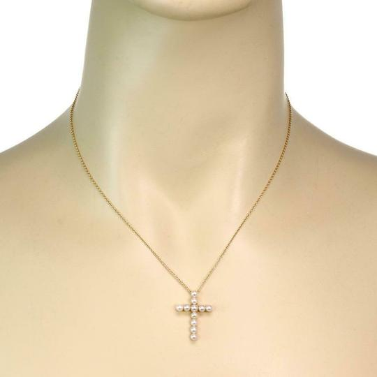 Tiffany & Co. Pearls 18k Yellow Gold Cross Pendant & Chain Image 1