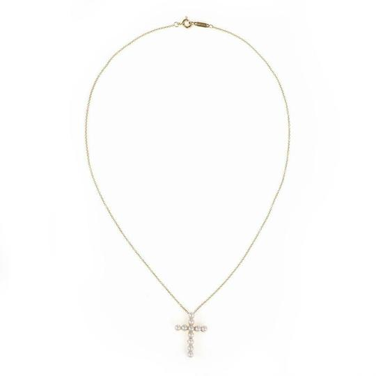 Tiffany & Co. Pearls 18k Yellow Gold Cross Pendant & Chain Image 2
