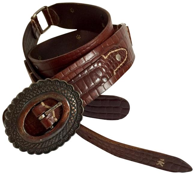 Item - Italian Hand-made One-of-kind Croc-stamped Calfskin Silver Studs and Amber Stones Western Belt