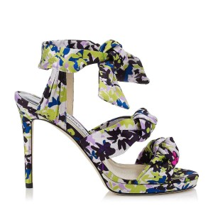 Jimmy Choo Strappy Platform Self-tie Ankle Strap Floral Cushioned Green Lilac Sandals