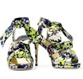 Jimmy Choo Strappy Platform Self-tie Ankle Strap Floral Cushioned Green Lilac Sandals Image 1