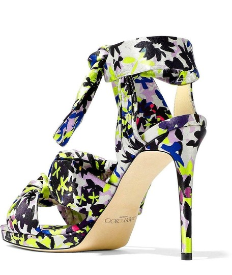 Jimmy Choo Strappy Platform Self-tie Ankle Strap Floral Cushioned Green Lilac Sandals Image 4