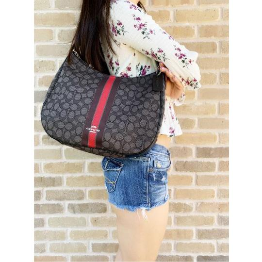 Coach Jacquard Signature Hobo Tote in Gray Red Image 2