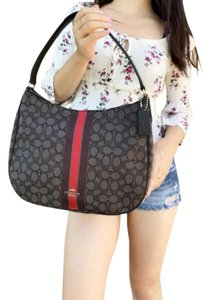 Coach Jacquard Signature Hobo Shoulder Tote in Gray Red