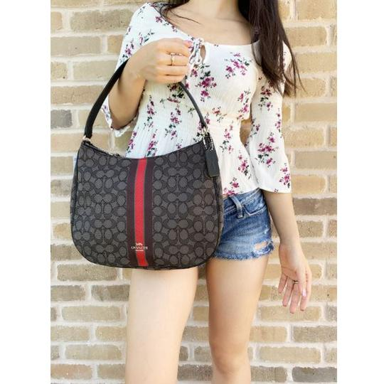 Coach Jacquard Signature Hobo Shoulder Tote in Gray Red Image 2