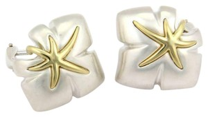 Tiffany & Co. Ivy 1991 Classic 925 Sterling 18k YGold Starfish Leaf Clip On Earrings