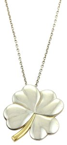Tiffany & Co. Classic 925 Silver 18k Yellow Gold 4 Leaf Clover Pendant & Chain