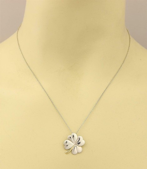 Tiffany & Co. Classic 925 Silver 18k Yellow Gold 4 Leaf Clover Pendant & Chain Image 1