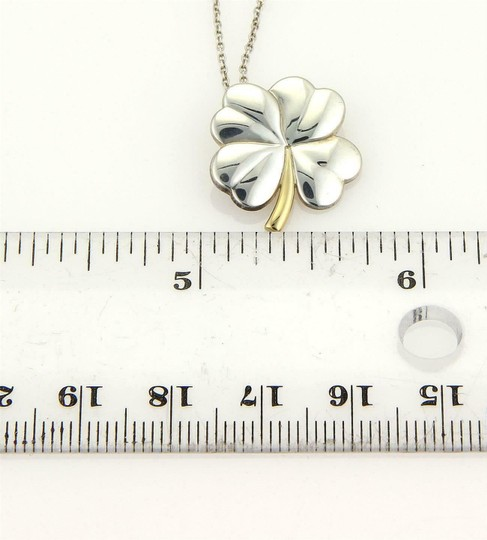 Tiffany & Co. Classic 925 Silver 18k Yellow Gold 4 Leaf Clover Pendant & Chain Image 4