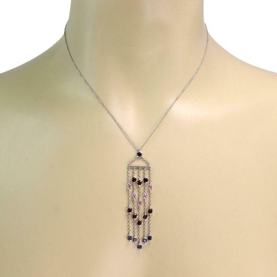 Tiffany & Co. Lovely 3.00ct Multicolor Sapphire White 18k Gold Fringe Pendant Chain Image 0