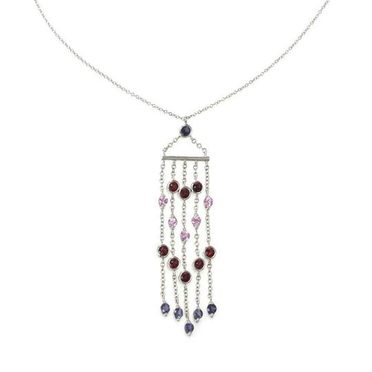 Tiffany & Co. Lovely 3.00ct Multicolor Sapphire White 18k Gold Fringe Pendant Chain Image 1