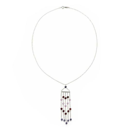 Tiffany & Co. Lovely 3.00ct Multicolor Sapphire White 18k Gold Fringe Pendant Chain Image 2