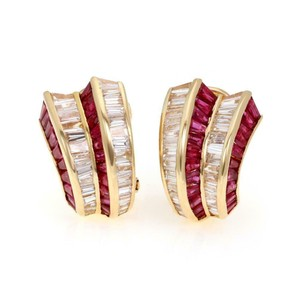 Other Estate 18k Yellow Gold 10.00ct Diamond &Ruby Curved Post Clip Earrings