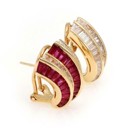 Other Estate 18k Yellow Gold 10.00ct Diamond &Ruby Curved Post Clip Earrings Image 1