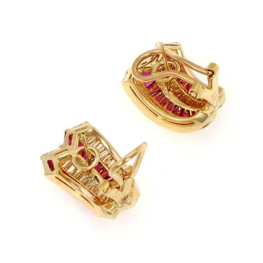 Other Estate 18k Yellow Gold 10.00ct Diamond &Ruby Curved Post Clip Earrings Image 4