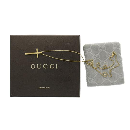 Gucci Auth GUCCI 18K Yellow Gold Cross 31 mm Pendant Necklace Size 20