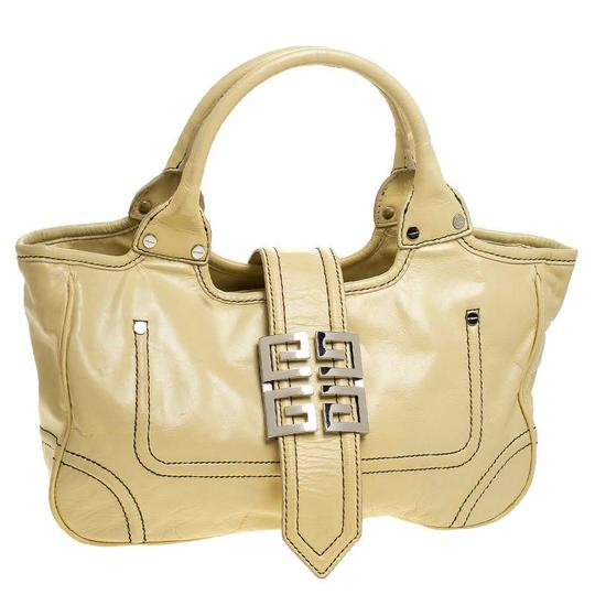 Givenchy Leather Front Flap Logo Tote in Yellow Image 3