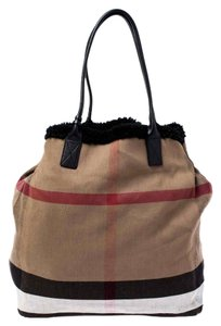 Burberry Canvas Leather Tote in Beige