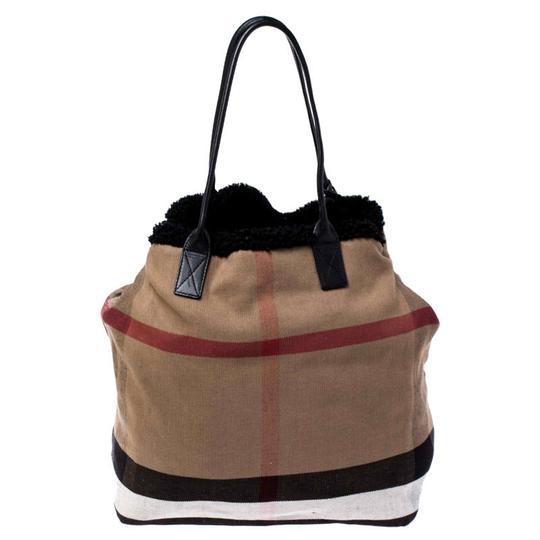 Burberry Canvas Leather Tote in Beige Image 1