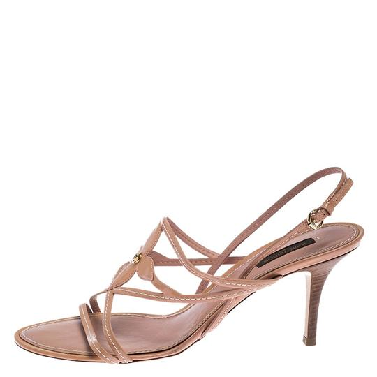 Louis Vuitton Leather Patent Leather Strappy Beige Sandals Image 3