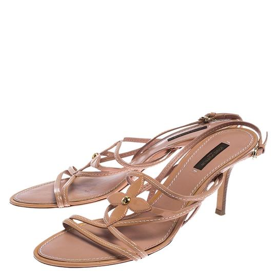 Louis Vuitton Leather Patent Leather Strappy Beige Sandals Image 6