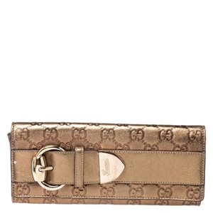 Gucci Gucci Gold Guccissima Leather Buckle Continental Wallet