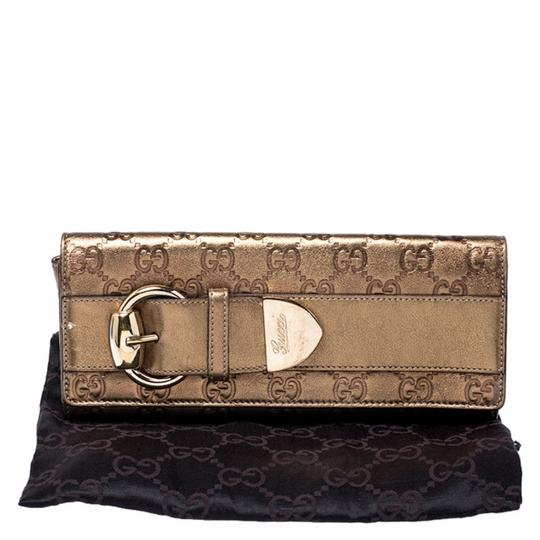 Gucci Gucci Gold Guccissima Leather Buckle Continental Wallet Image 10