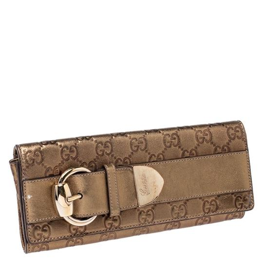 Gucci Gucci Gold Guccissima Leather Buckle Continental Wallet Image 2