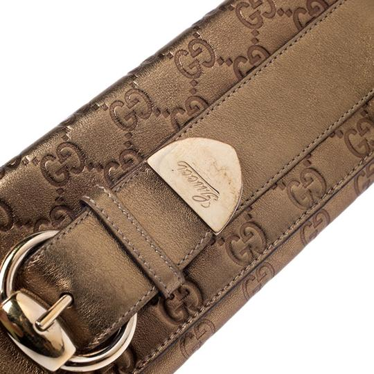 Gucci Gucci Gold Guccissima Leather Buckle Continental Wallet Image 8