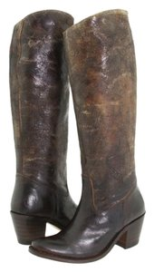 Frye Distressed Riding Leather Knee High Slip On Brown Boots