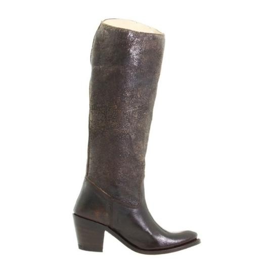Frye Distressed Riding Leather Knee High Slip On Brown Boots Image 6