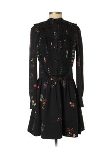 ERDEM x H&M short dress Black Floral Bib Front Ruffles on Tradesy